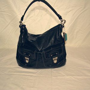 Coach Black Distressed Leather Swing Hobo